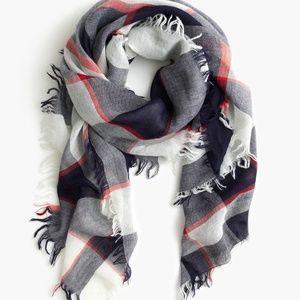 J.Crew woven plaid wool blend square scarf NWT